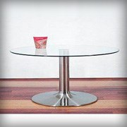 Glass and Chrome Round Coffee Table - Tables