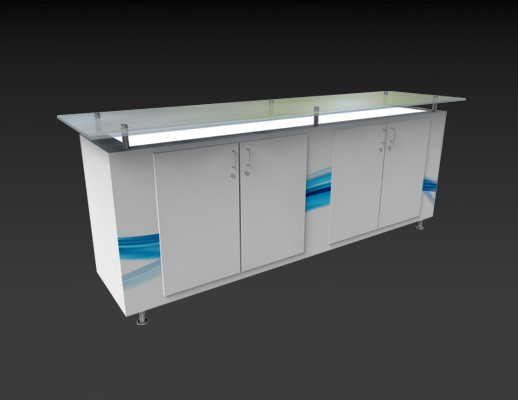 Rentals Counters  Plexi Top Rectangle Quad Door Counter