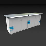 Plexi Top Rectangle Quad Door Counter - Counters