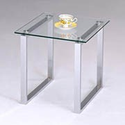 Glass and Chrome End Table - Tables