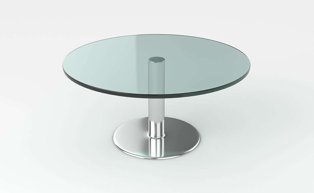 Rentals Tables Glass and Chrome Round Coffee Table
